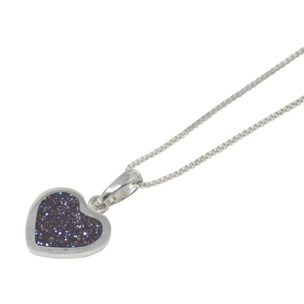 Silver Blue Goldstone Heart Shaped Pendant