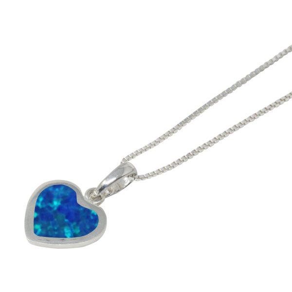 Silver Opalite Cobalt Blue Heart Shaped Pendant