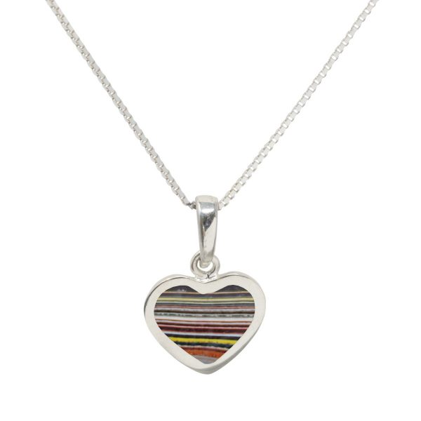 Silver Fordite Heart Shaped Pendant