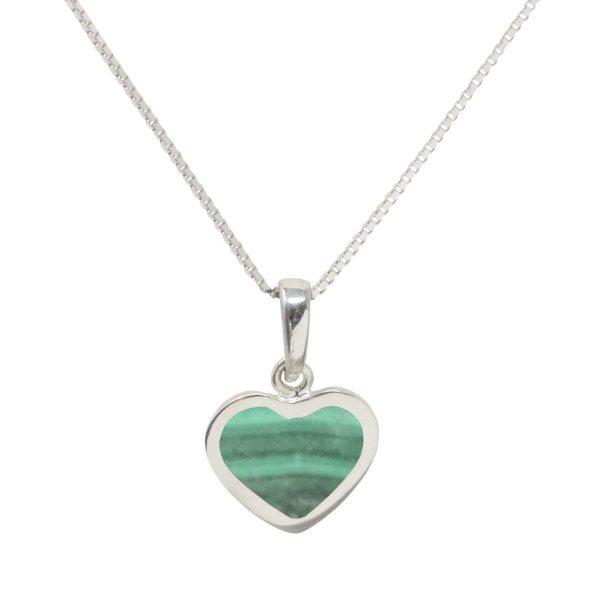 Silver Malachite Heart Shaped Pendant