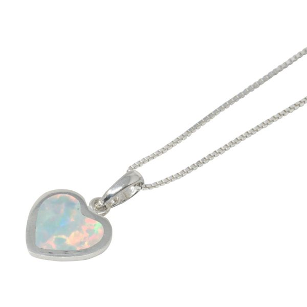Silver Opalite Sun Ice Heart Shaped Pendant