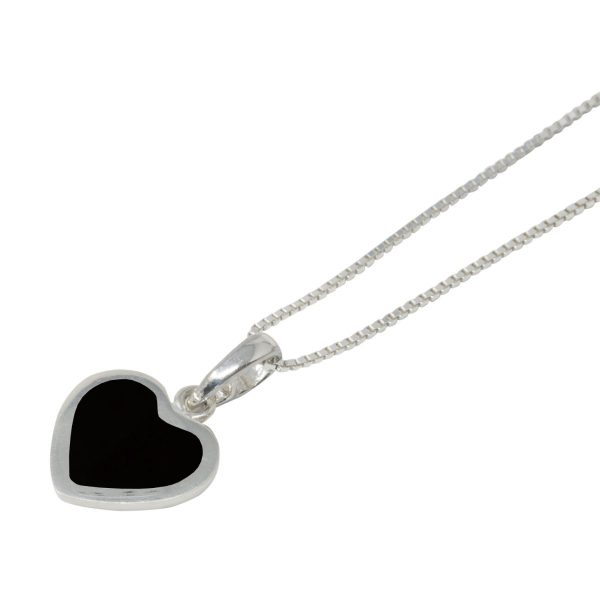 Silver Whitby Jet Heart Shaped Pendant