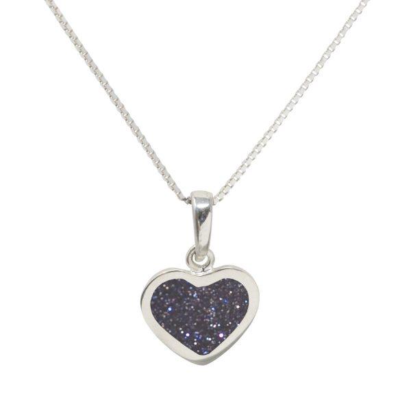 White Gold Blue Goldstone Heart Shaped Pendant