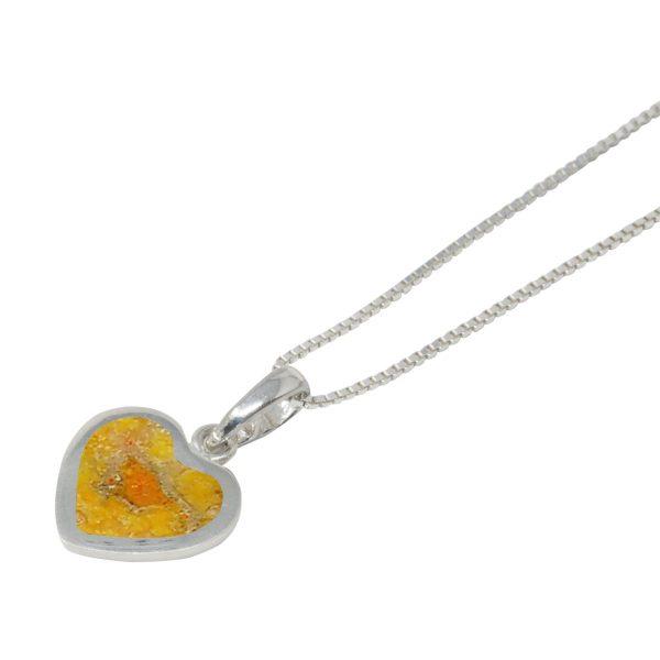 White Gold Bumblebee Jasper Heart Shaped Pendant