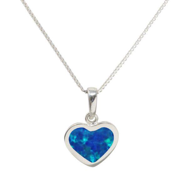 White Gold Opalite Cobalt Blue Heart Shaped Pendant
