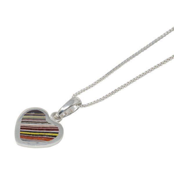 White Gold Fordite Heart Shaped Pendant