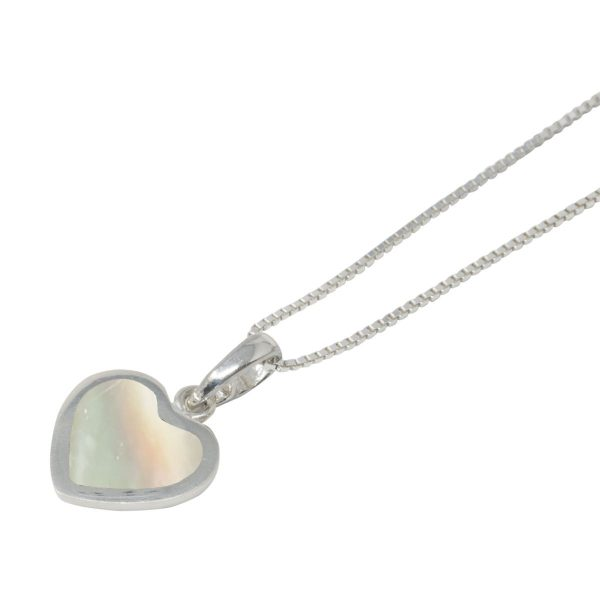 White Gold Mother of Pearl Heart Shaped Pendant