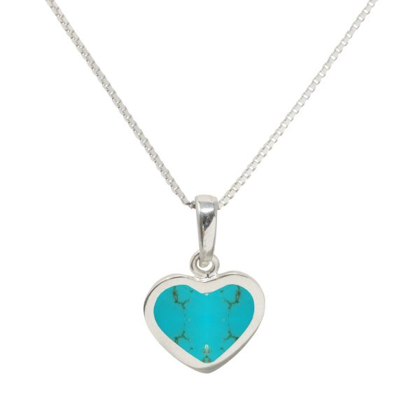 White Gold Turquoise Heart Shaped Pendant
