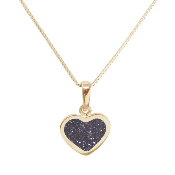 Yellow Gold Blue Goldstone Heart Shaped Pendant