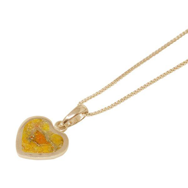 Yellow Gold Bumblebee Jasper Heart Shaped Pendant