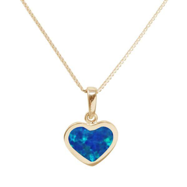 Yellow Gold Cobalt Blue Opalite Heart Shaped Pendant