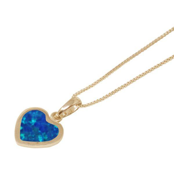 Yellow Gold Opalite Cobalt Blue Heart Shaped Pendant