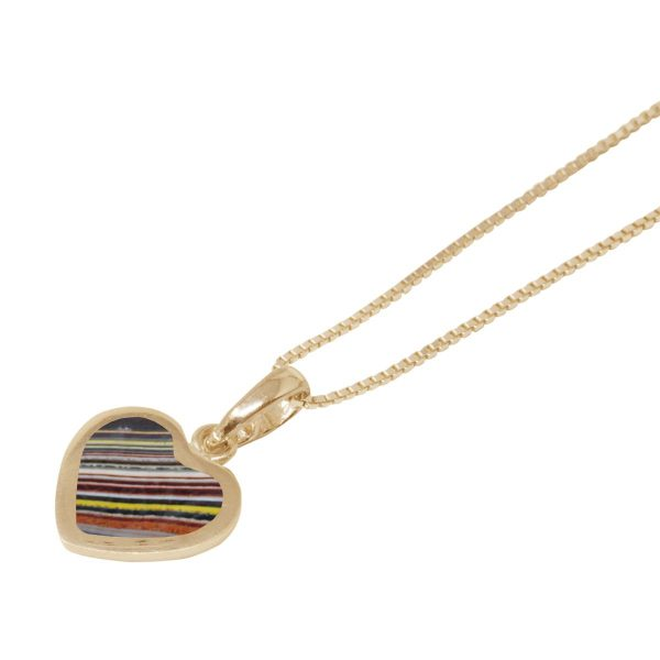 Yellow Gold Fordite Heart Shaped Pendant