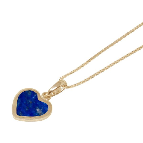Yellow Gold Lapis Heart Shaped Pendant