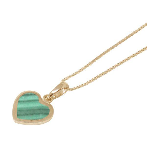 Yellow Gold Malachite Heart Shaped Pendant