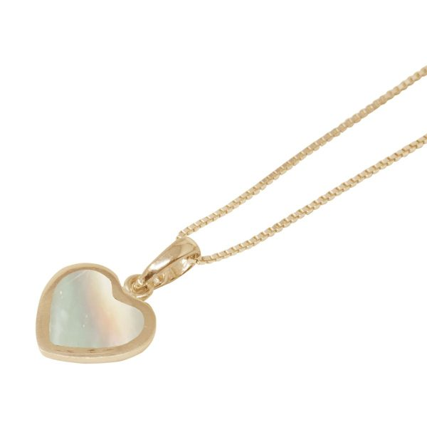 Yellow Gold Mother of Pearl Heart Shaped Pendant