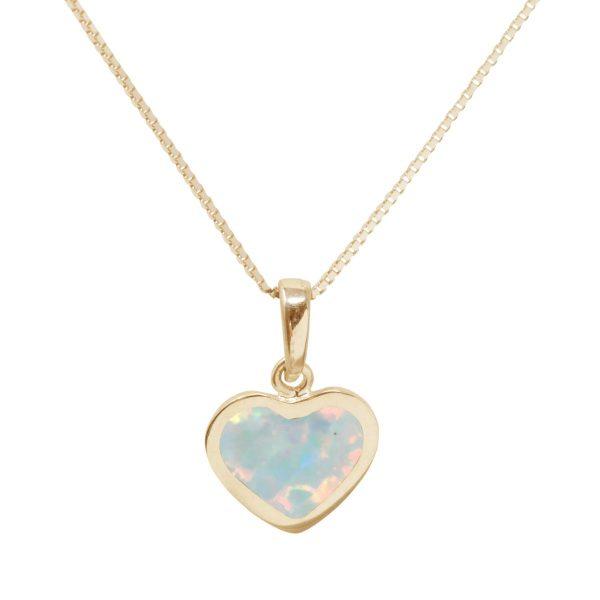 Yellow Gold Opalite Sun Ice Heart Shaped Pendant