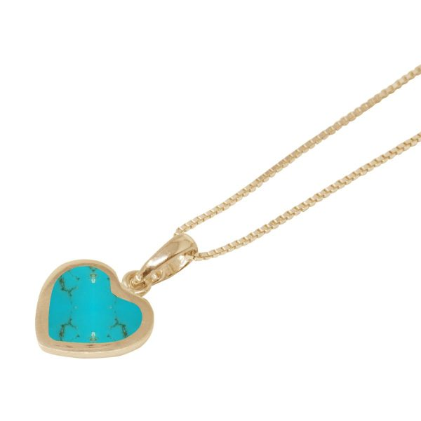 Yellow Gold Turquoise Heart Shaped Pendant