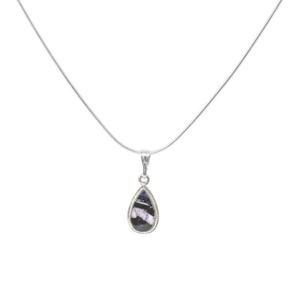 Silver Blue John Teardrop Shaped Pendant