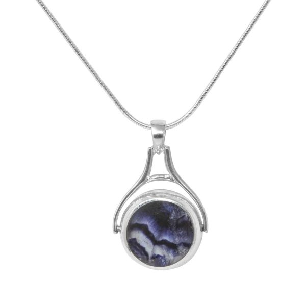 Silver Blue John Round Stone Double Sided Pendant