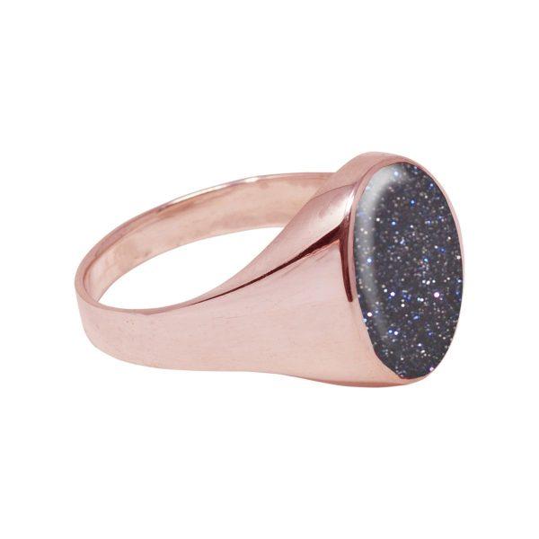 Rose Gold Blue Goldstone Oval Signet Ring