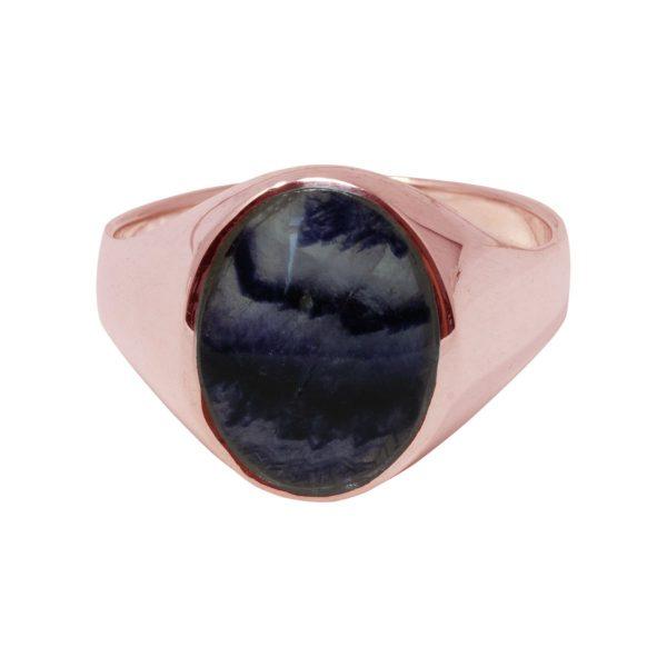 Rose Gold Blue John Oval Signet Ring