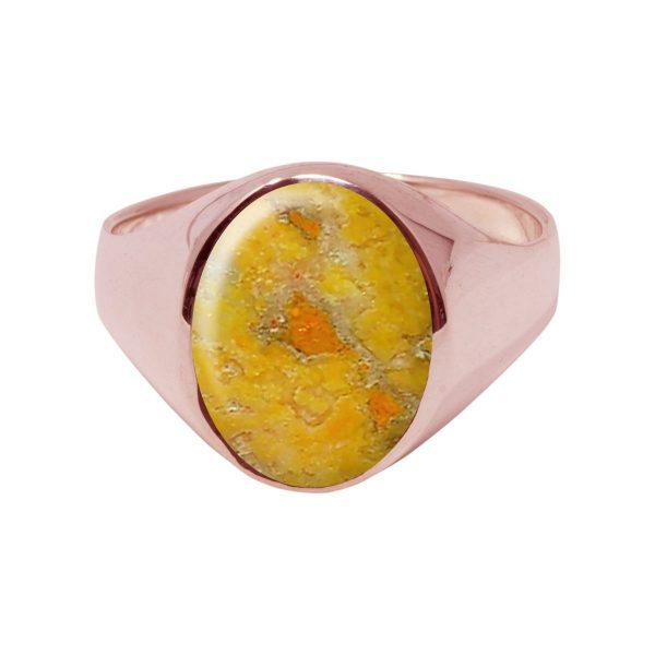 Rose Gold Bumblebee Jasper Oval Signet Ring