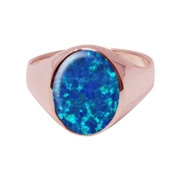 Rose Gold Opalite Cobalt Blue Oval Signet Ring