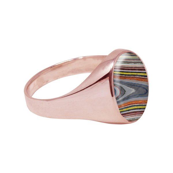 Rose Gold Fordite Oval Signet Ring