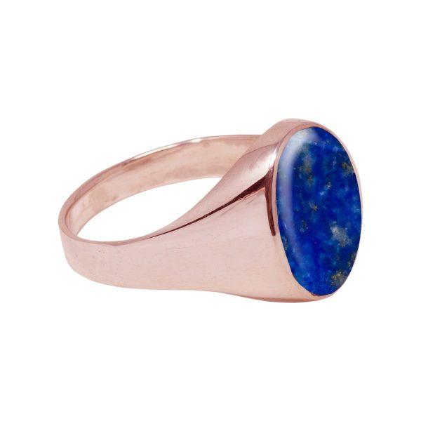Rose Gold Lapis Oval Signet Ring