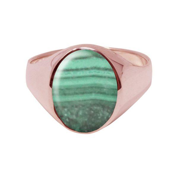 Rose Gold Malachite Oval Signet Ring