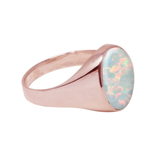 Rose Gold Opalite Sun Ice Oval Signet Ring