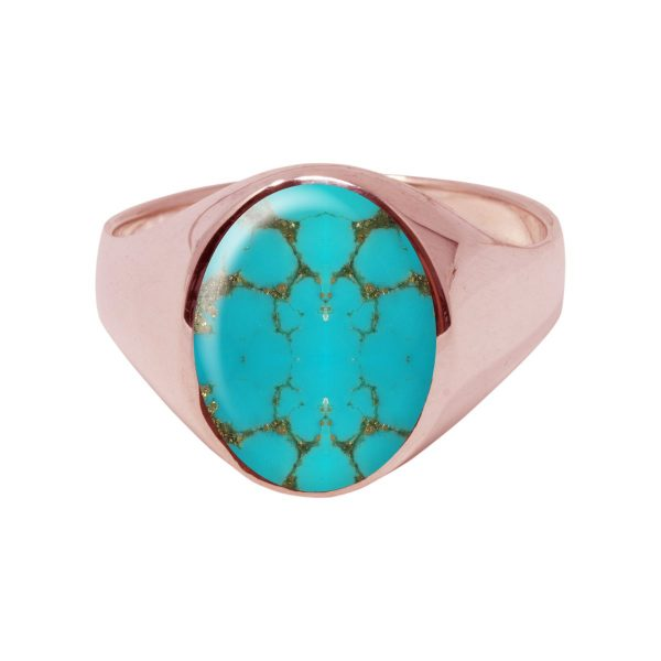 Rose Gold Turquoise Oval Signet Ring