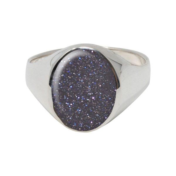 Silver Blue John Oval Signet Ring