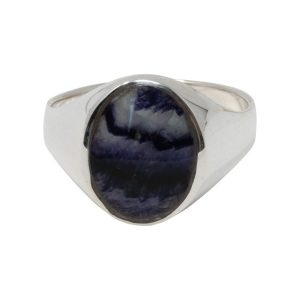Silver Oval Blue John Stone Signet Ring