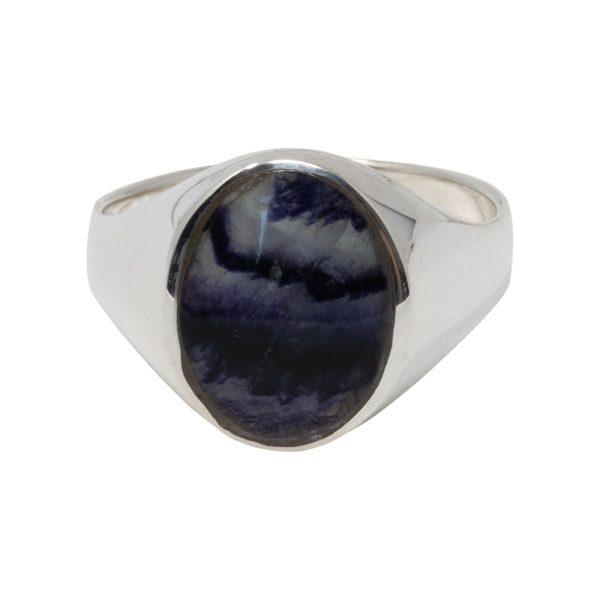 Silver Oval Blue John Stone Signet Ring