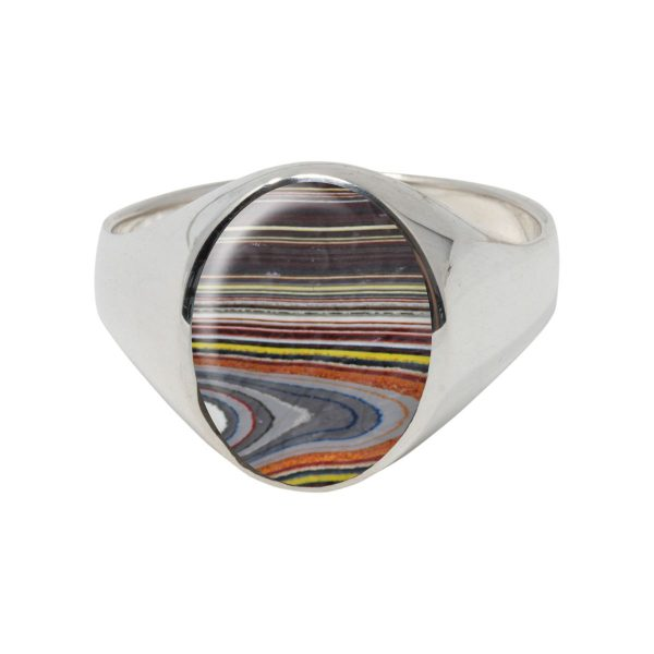 Silver Fordite Oval Signet Ring