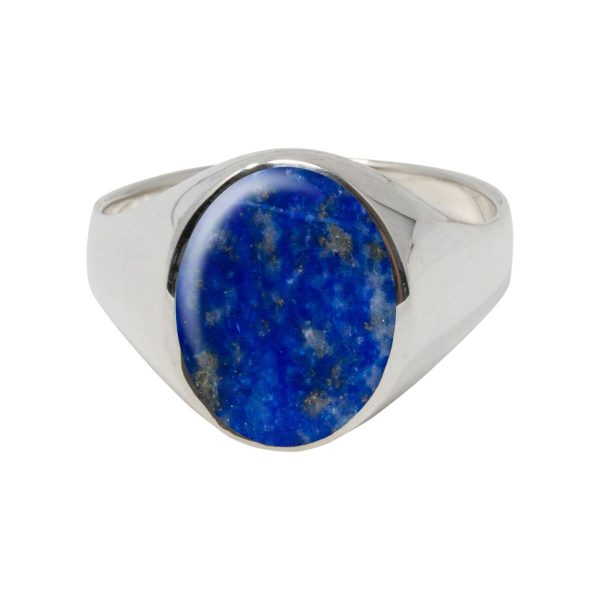 Silver Lapis Oval Signet Ring