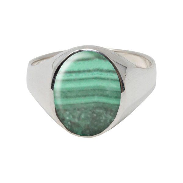 Silver Malachite Oval Signet Ring