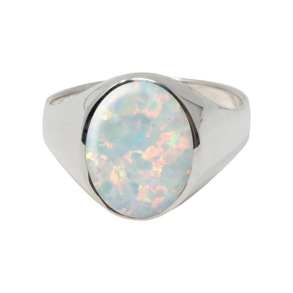 Silver Opalite Sun Ice Oval Signet Ring