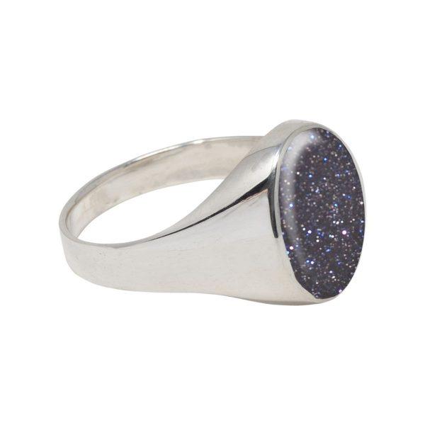 White Gold Blue Goldstone Oval Signet Ring