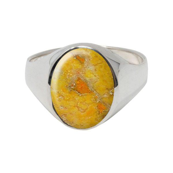 White Gold Bumblebee Jasper Oval Signet Ring
