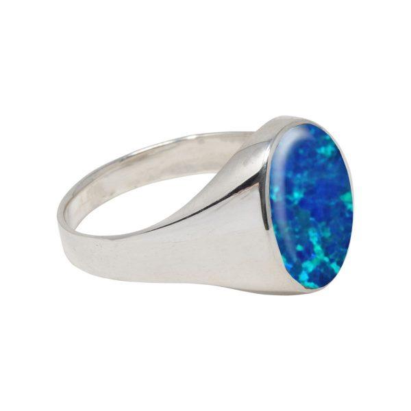 White Gold Opalite Cobalt Blue Oval Signet Ring