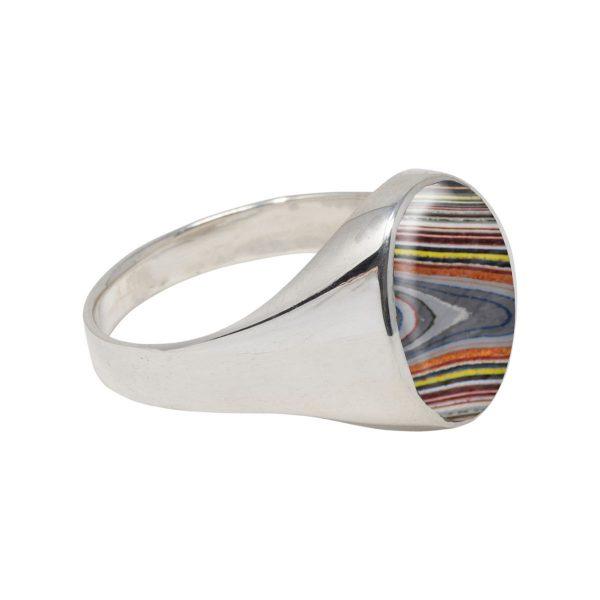 White Gold Fordite Oval Signet Ring