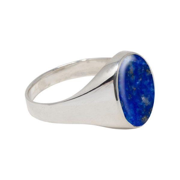 White Gold Lapis Oval Signet Ring