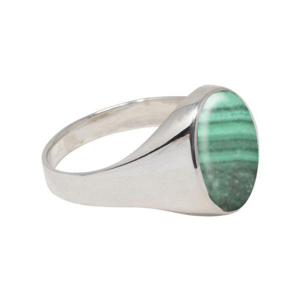 White Gold Malachite Oval Signet Ring