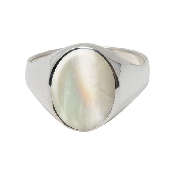 White Gold Mother of Pearl Oval Signet Ring