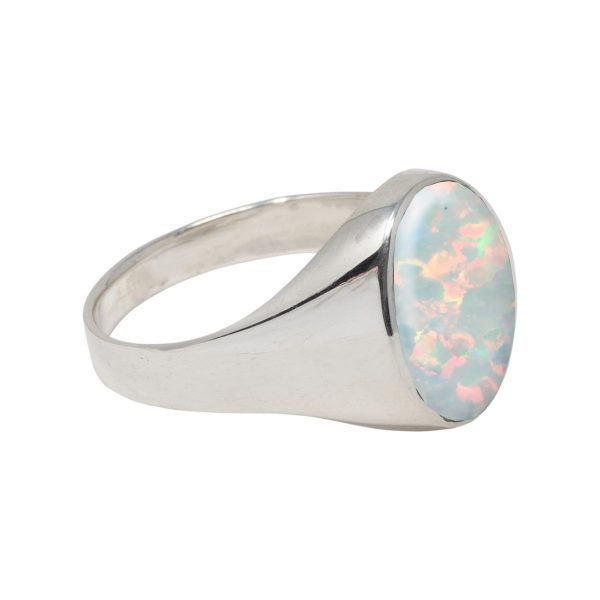 White Gold Opalite Sun Ice Oval Signet Ring