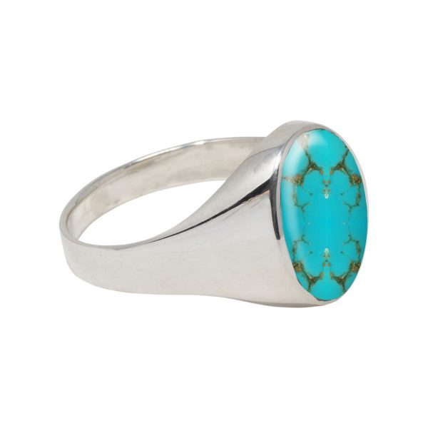 White Gold Turquoise Oval Signet Ring