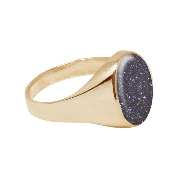 Yellow Gold Blue Goldstone Oval Signet Ring
